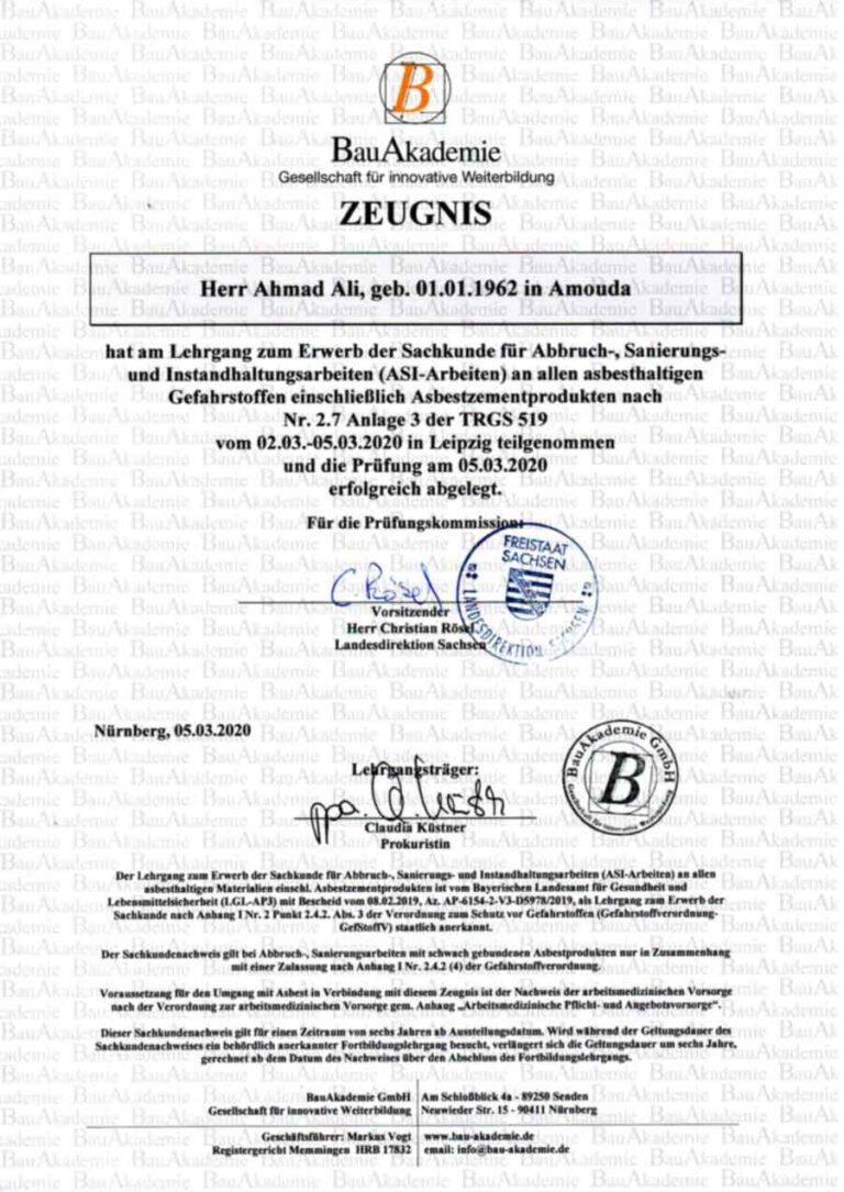 Bauarbeiten Zertifikat